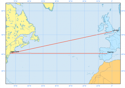 new york london madrid rhumb line