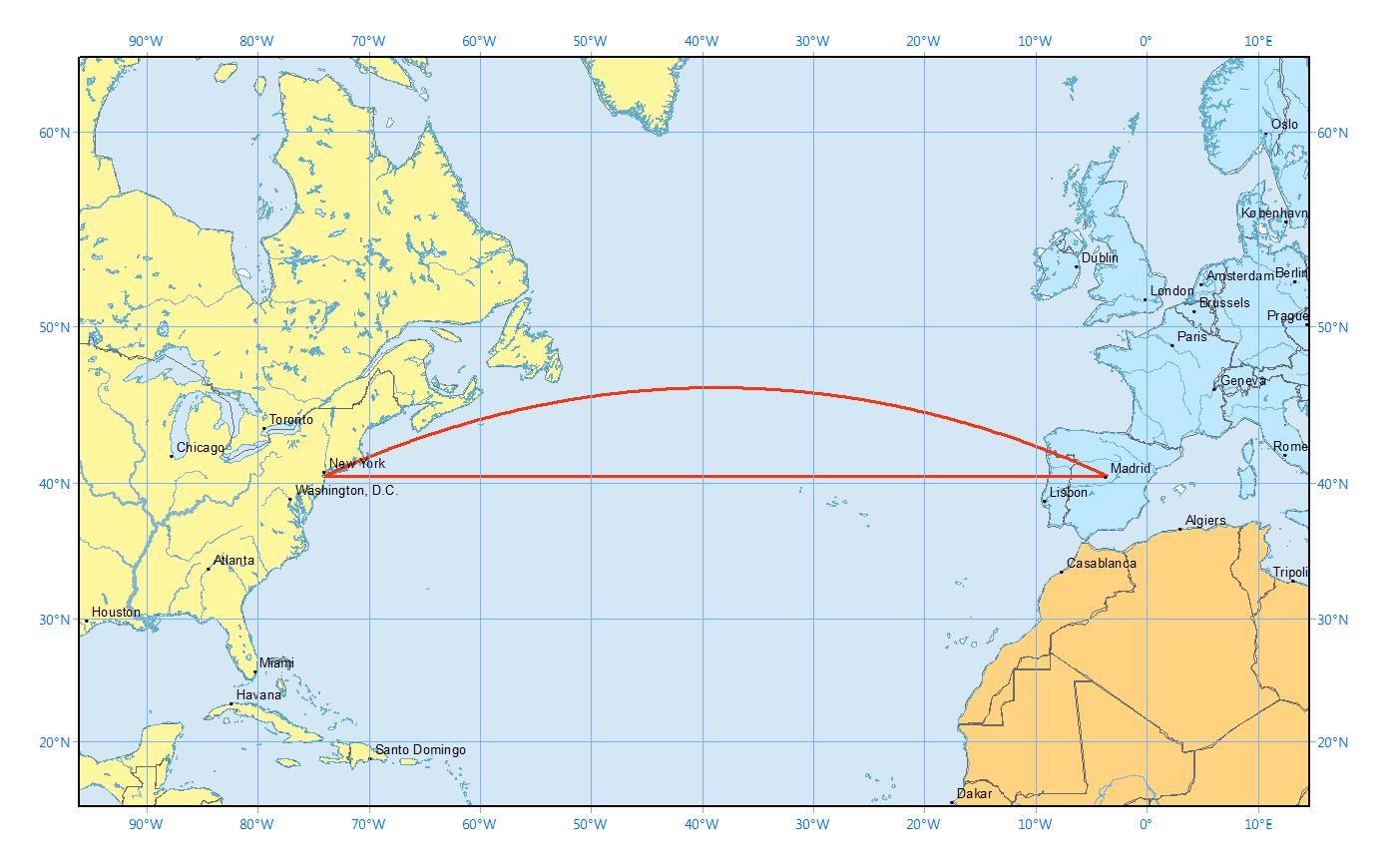 great circle flight path