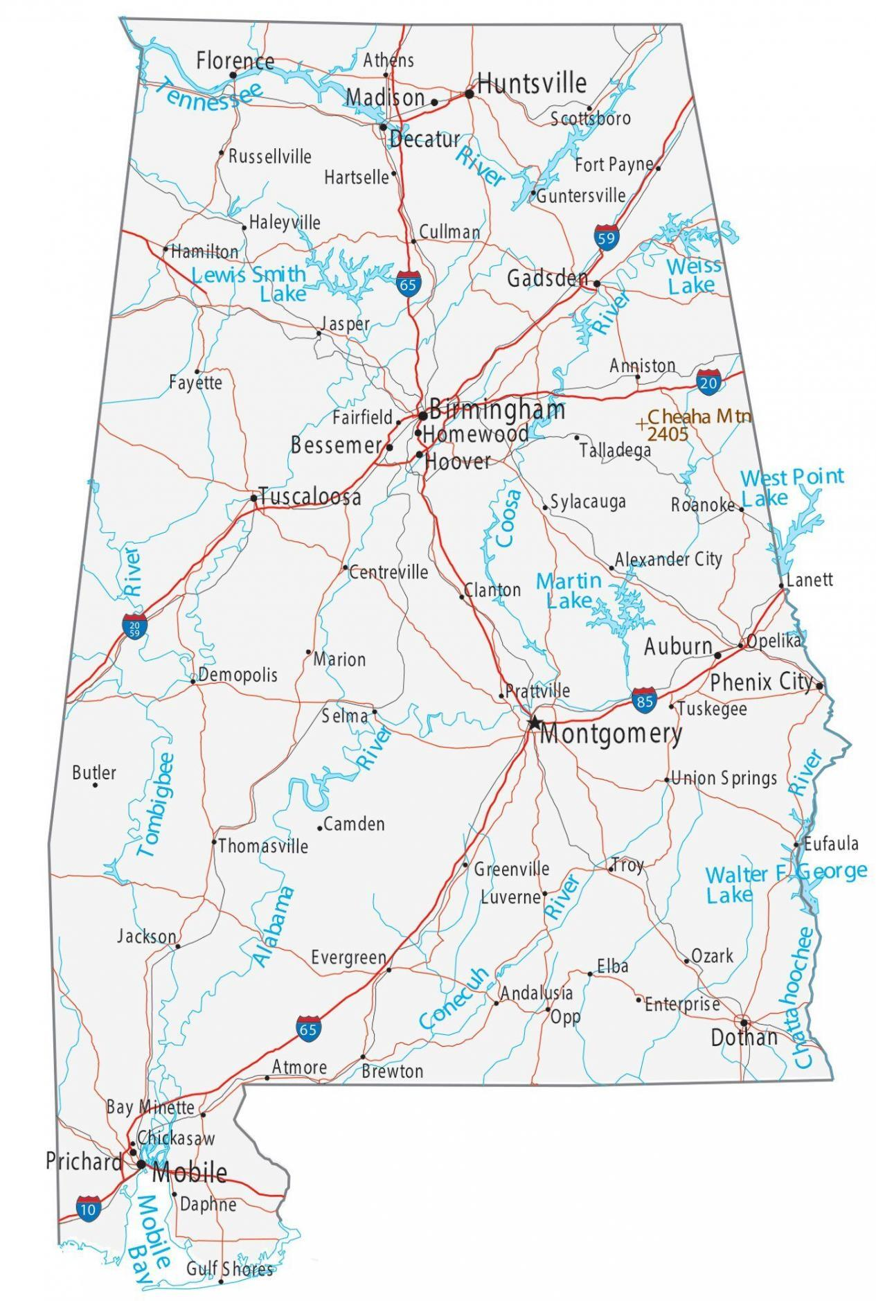 map of mississippi and alabama with cities Map Of Alabama Cities And Roads Gis Geography map of mississippi and alabama with cities