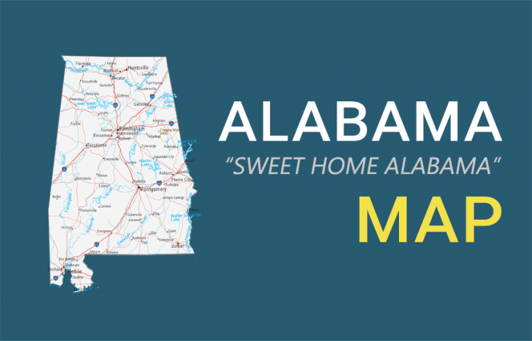Map of Alabama – Cities and Roads