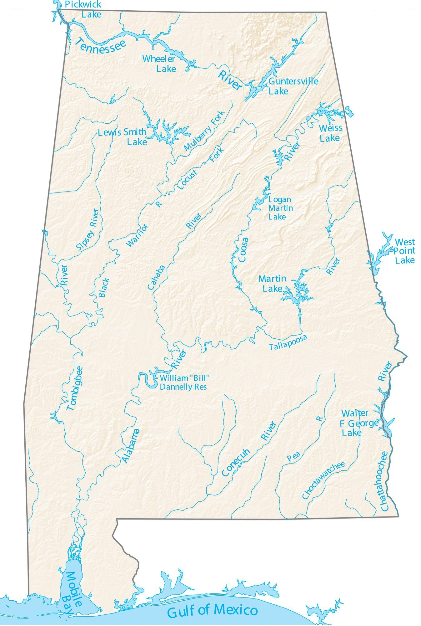 map of rivers and lakes Alabama Lakes And Rivers Map Gis Geography map of rivers and lakes