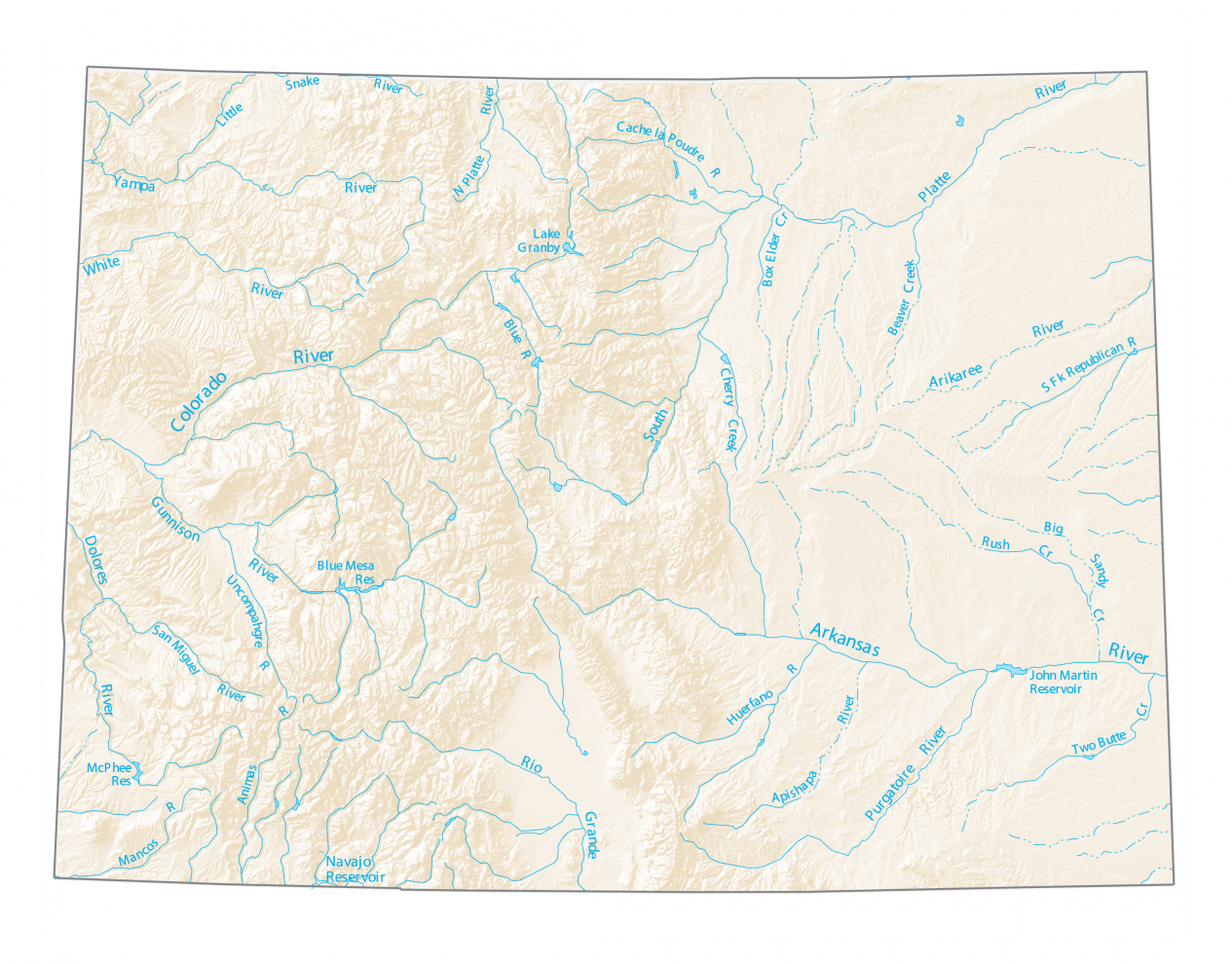 Colorado Lakes and Rivers Map