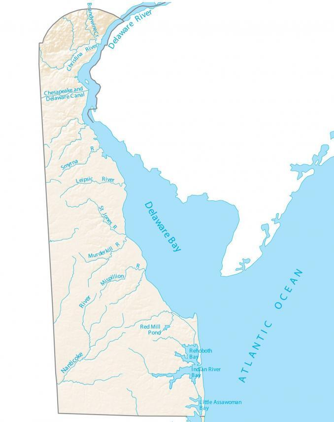 Delaware Lakes and Rivers Map