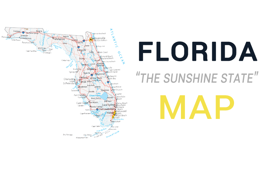 map of florida - cities and roads - gis geography