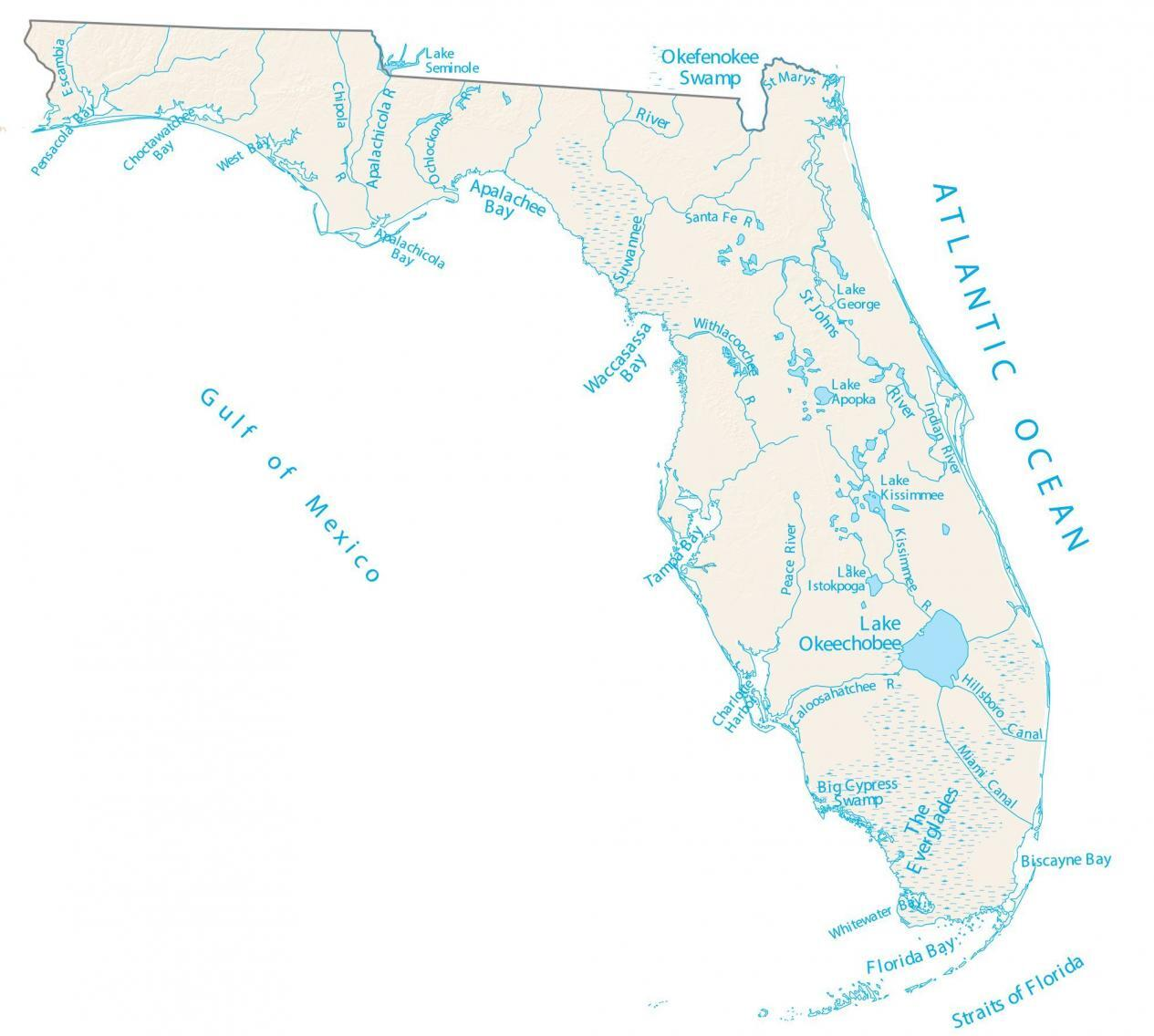Florida Lakes and Rivers Map