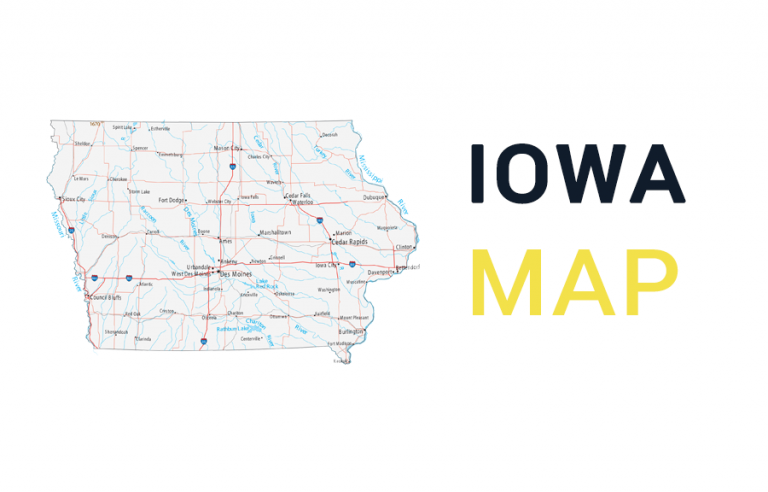 Map of Iowa – Cities and Roads