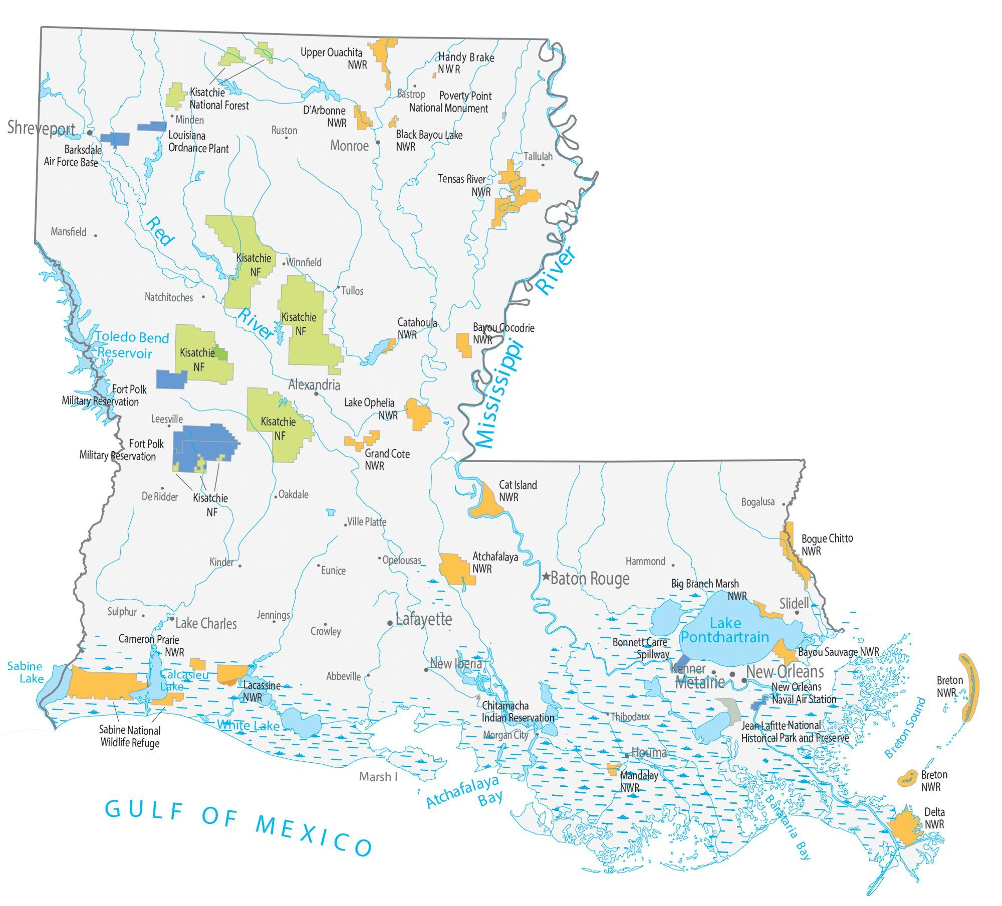 map of the state of louisiana Louisiana State Map Places And Landmarks Gis Geography map of the state of louisiana