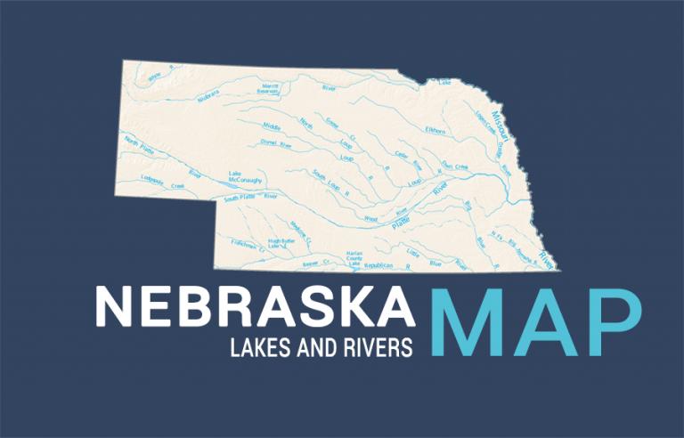 Nebraska Lakes and Rivers Map