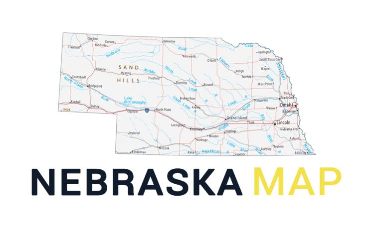 Map of Nebraska – Cities and Roads