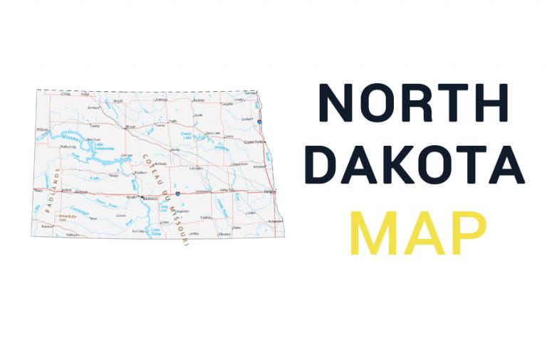 Map of North Dakota – Cities and Roads