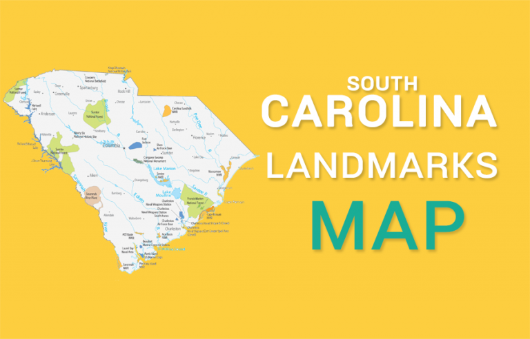 South Carolina State Map – Places and Landmarks