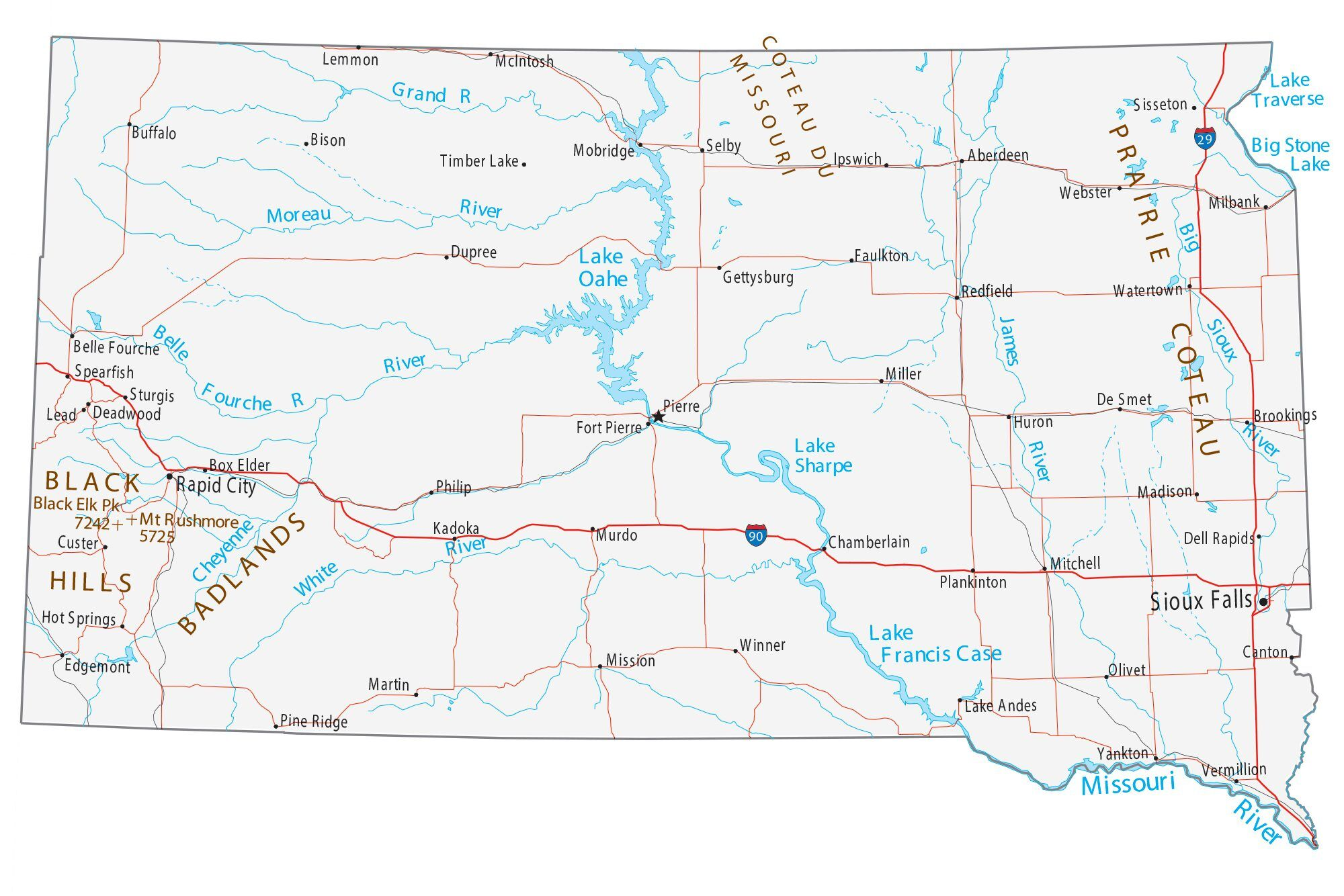 Picture of: Map Of South Dakota Cities And Roads Gis Geography