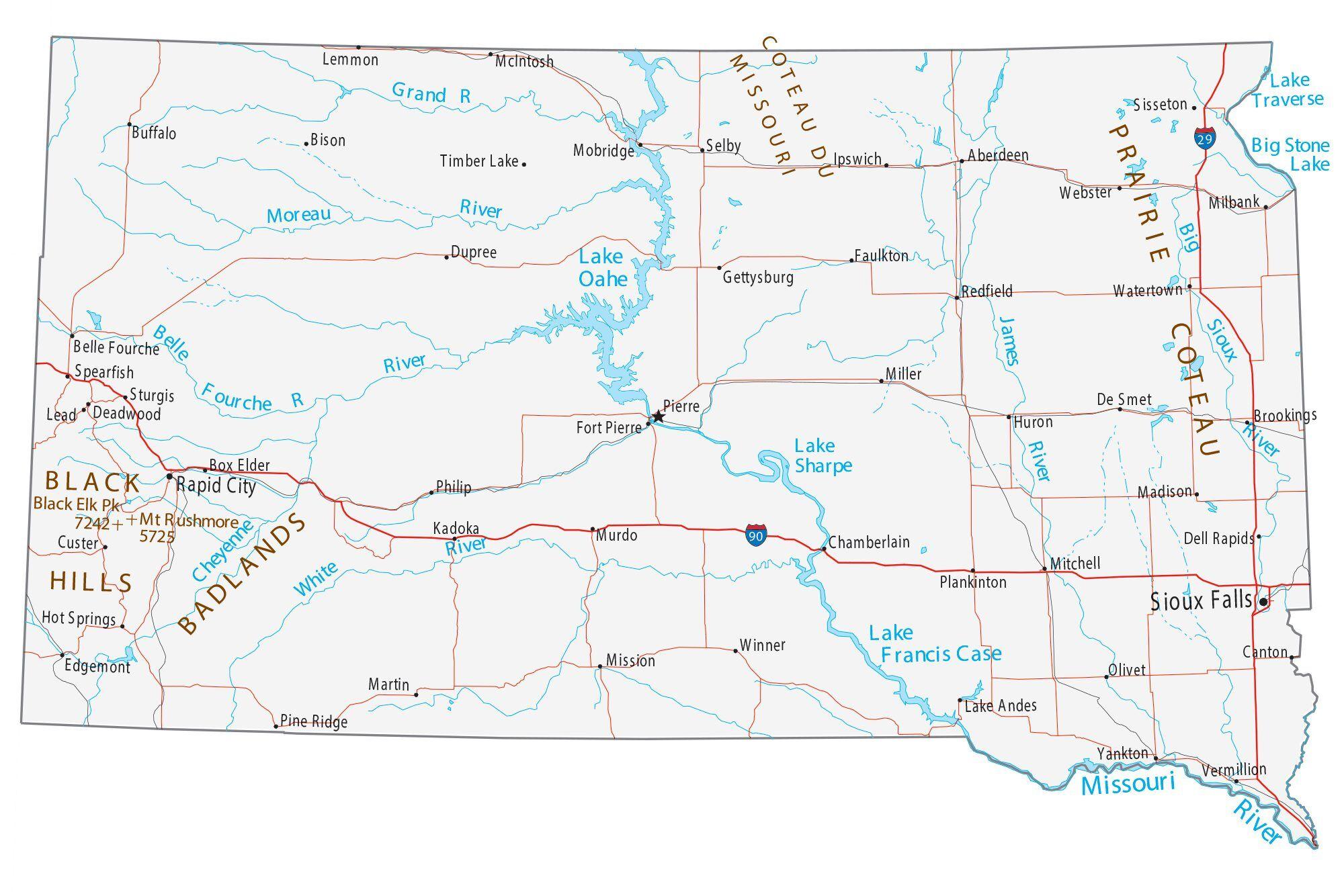 south dakota cities map Map Of South Dakota Cities And Roads Gis Geography south dakota cities map