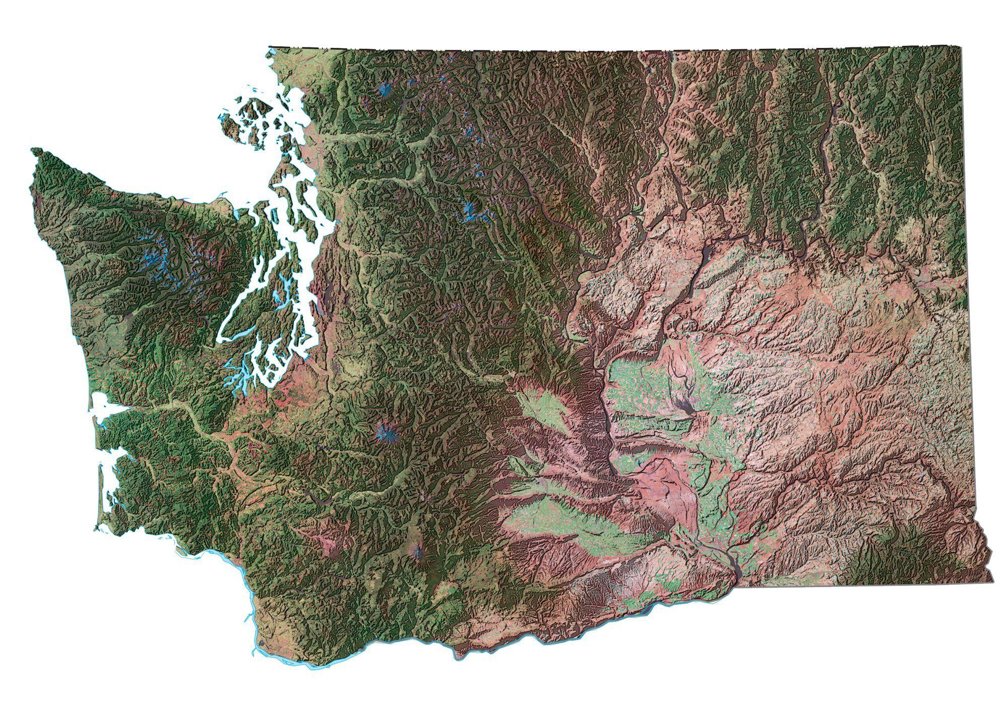Washington Lakes And Rivers Map Gis Geography