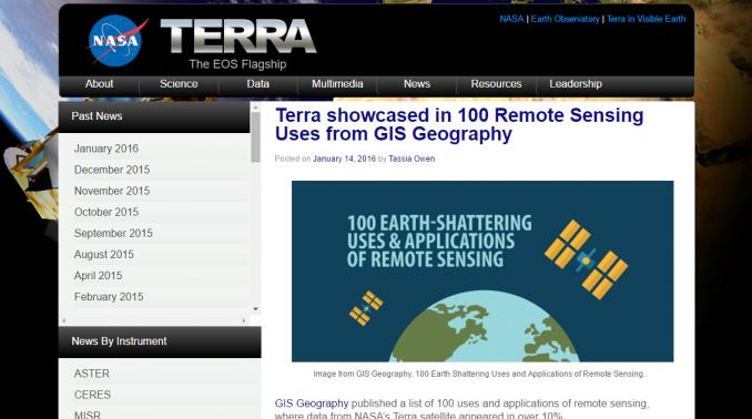 NASA Terra Website