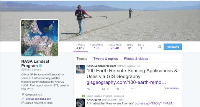NASA Landsat Twitter