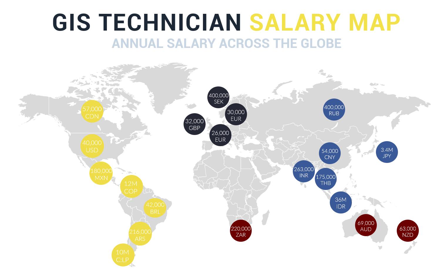 GIS Technician Salary Map