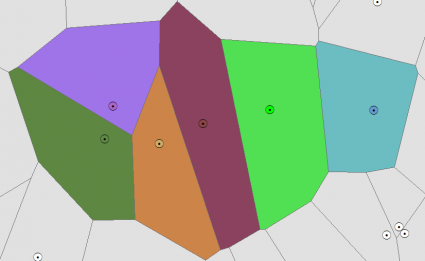 Voronoi Diagram Thiessen Polygons Result
