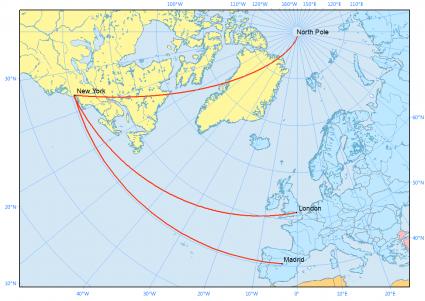 polar projection rhumb line