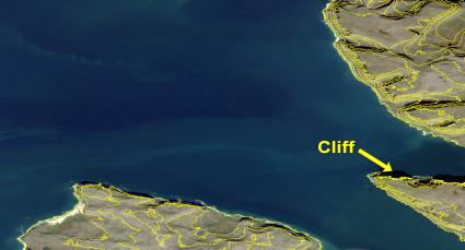Cliff contour lines Iceland