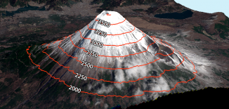 mount fuji 3d contours labels
