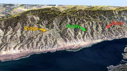 Ridge Gully Spur Contours