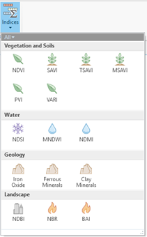 vegetation indices drop-down