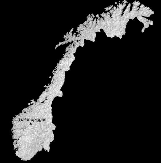 Norway Hillshade Map