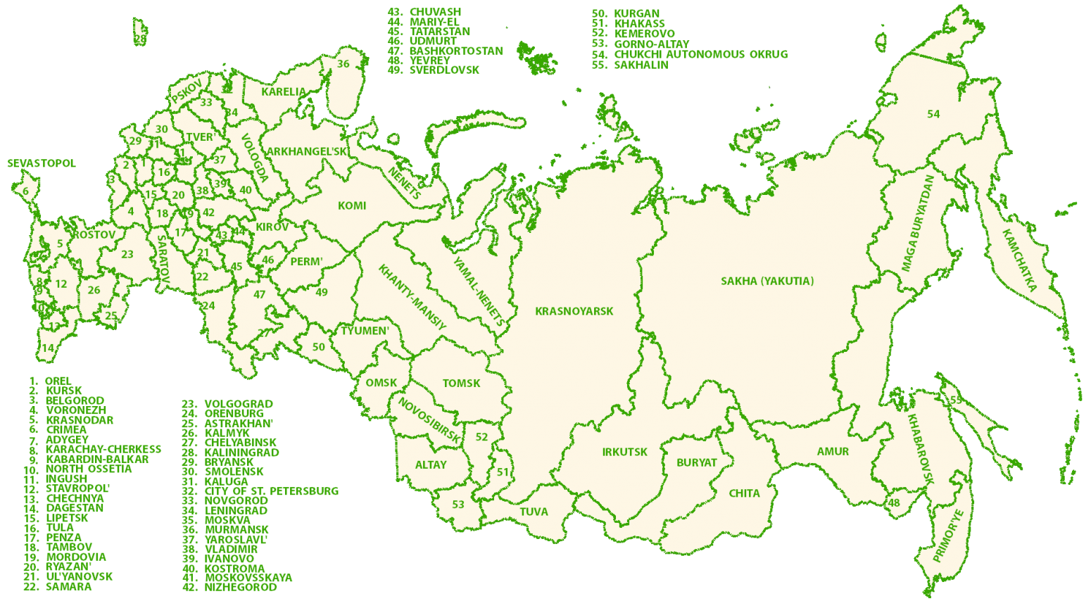 Russia Federal Map