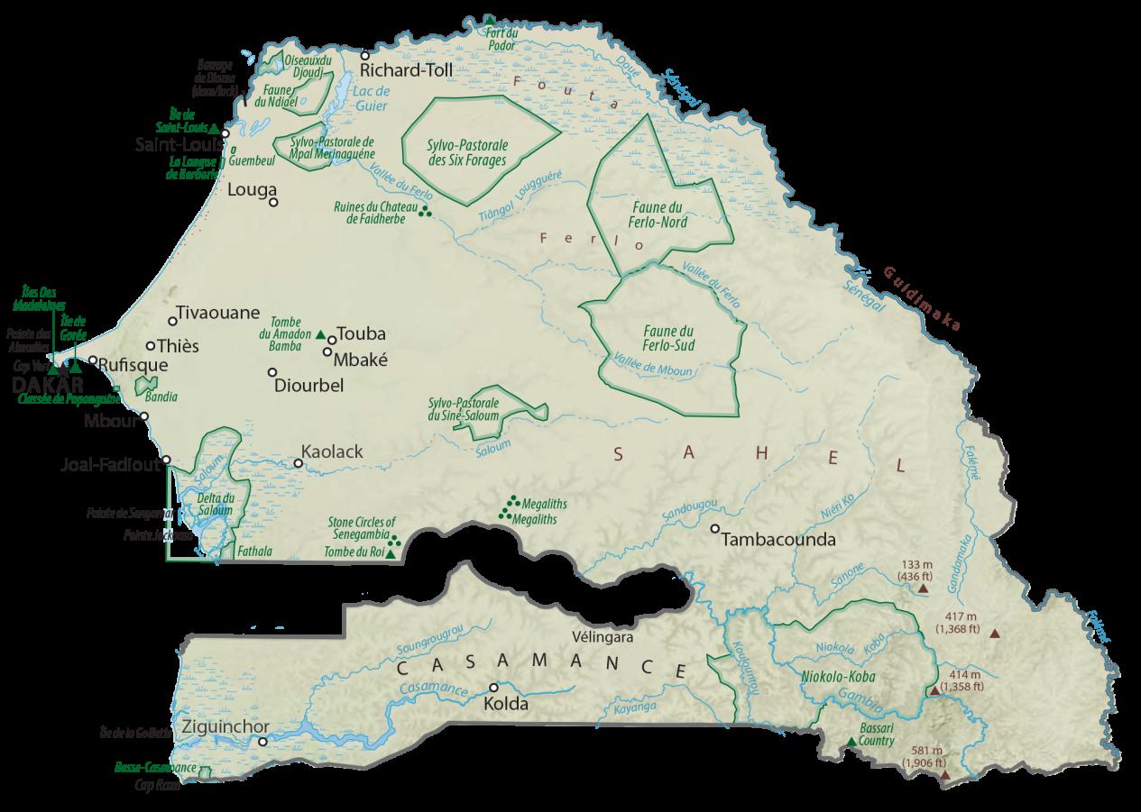 Senegal Physical Map