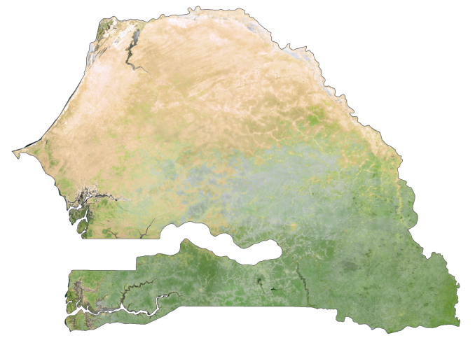 Senegal Satellite Map