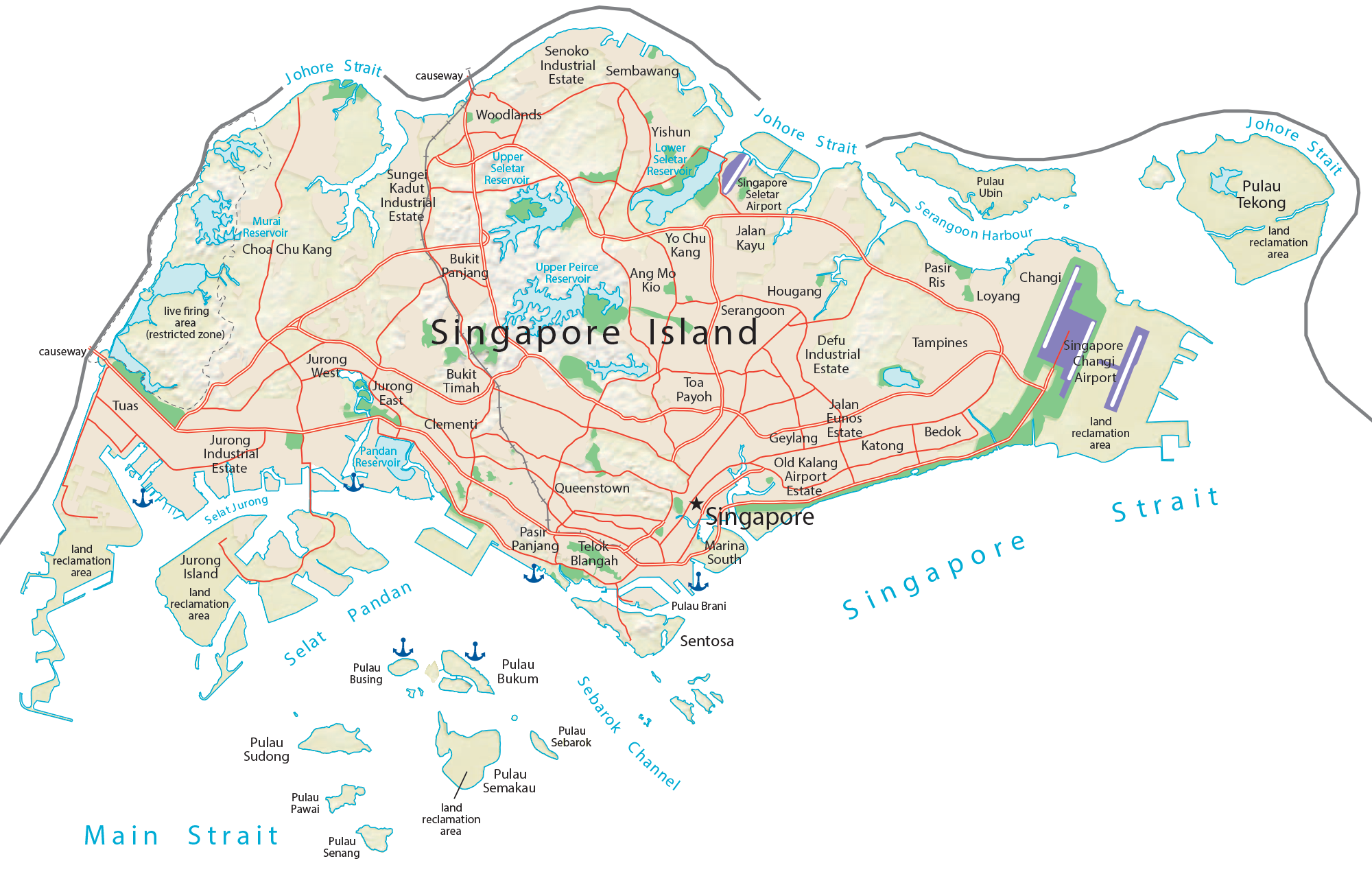 Singapore Physical Map