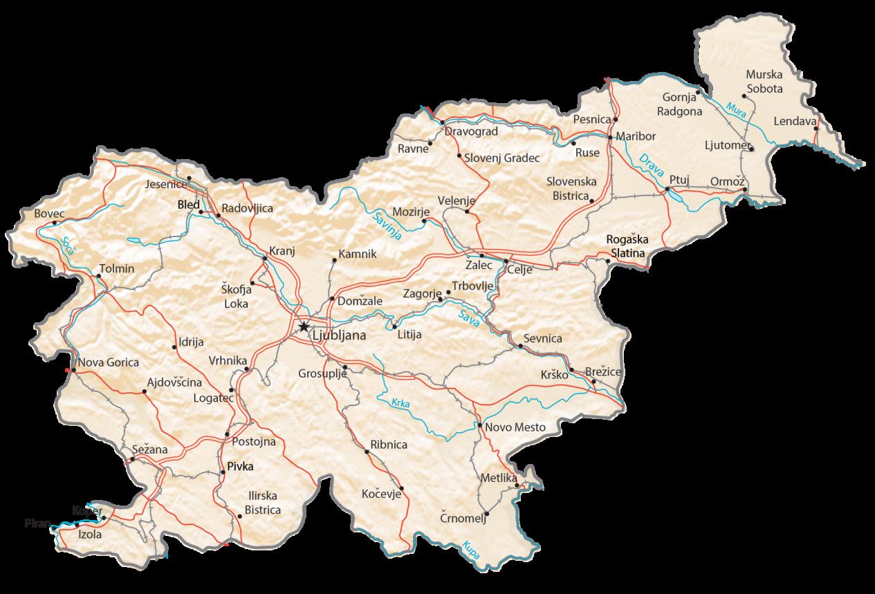 Slovenia Physical Map