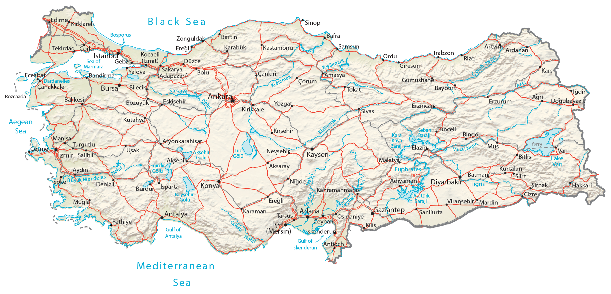 Turkey Physical Map