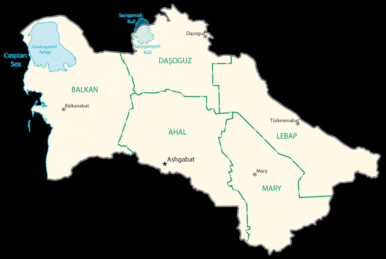 Turkmenistan Provincial Map