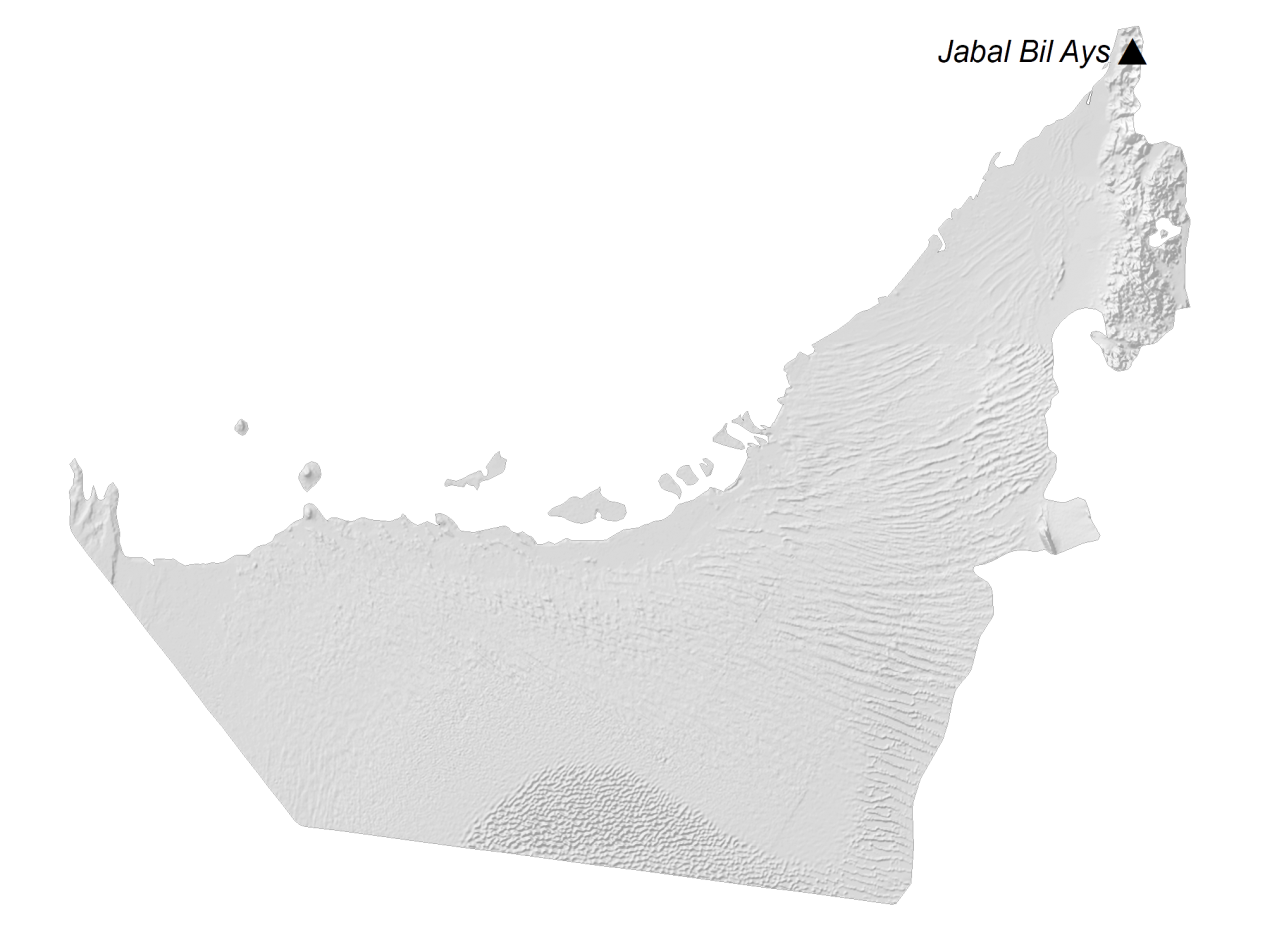 United Arab Emirates Elevation Map