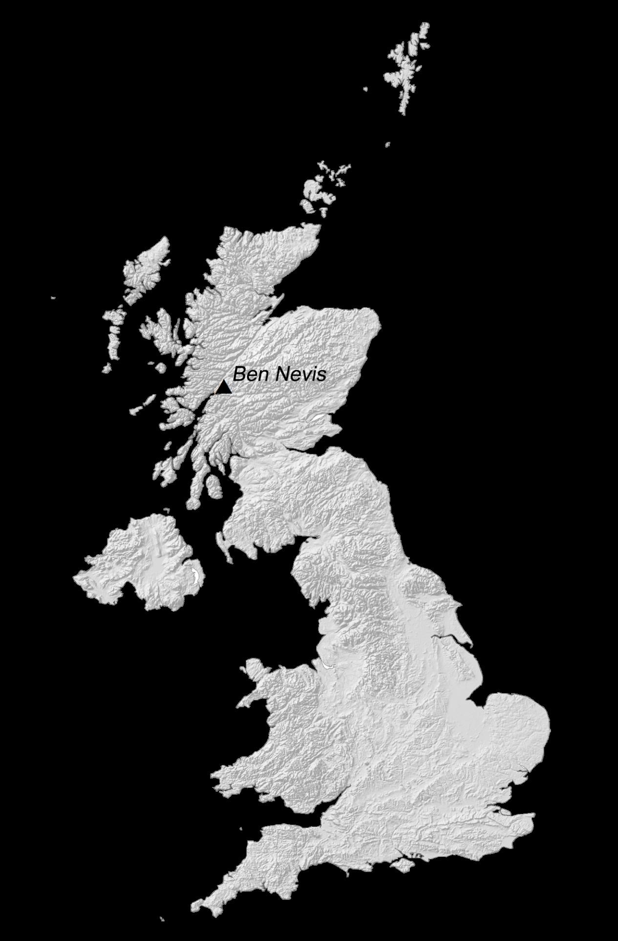 United Kingdom Elevation Map