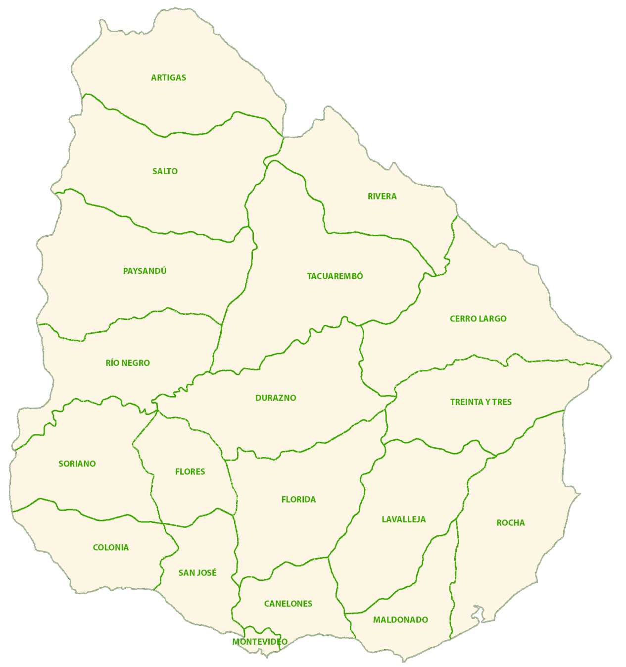 Uruguay Departments Map