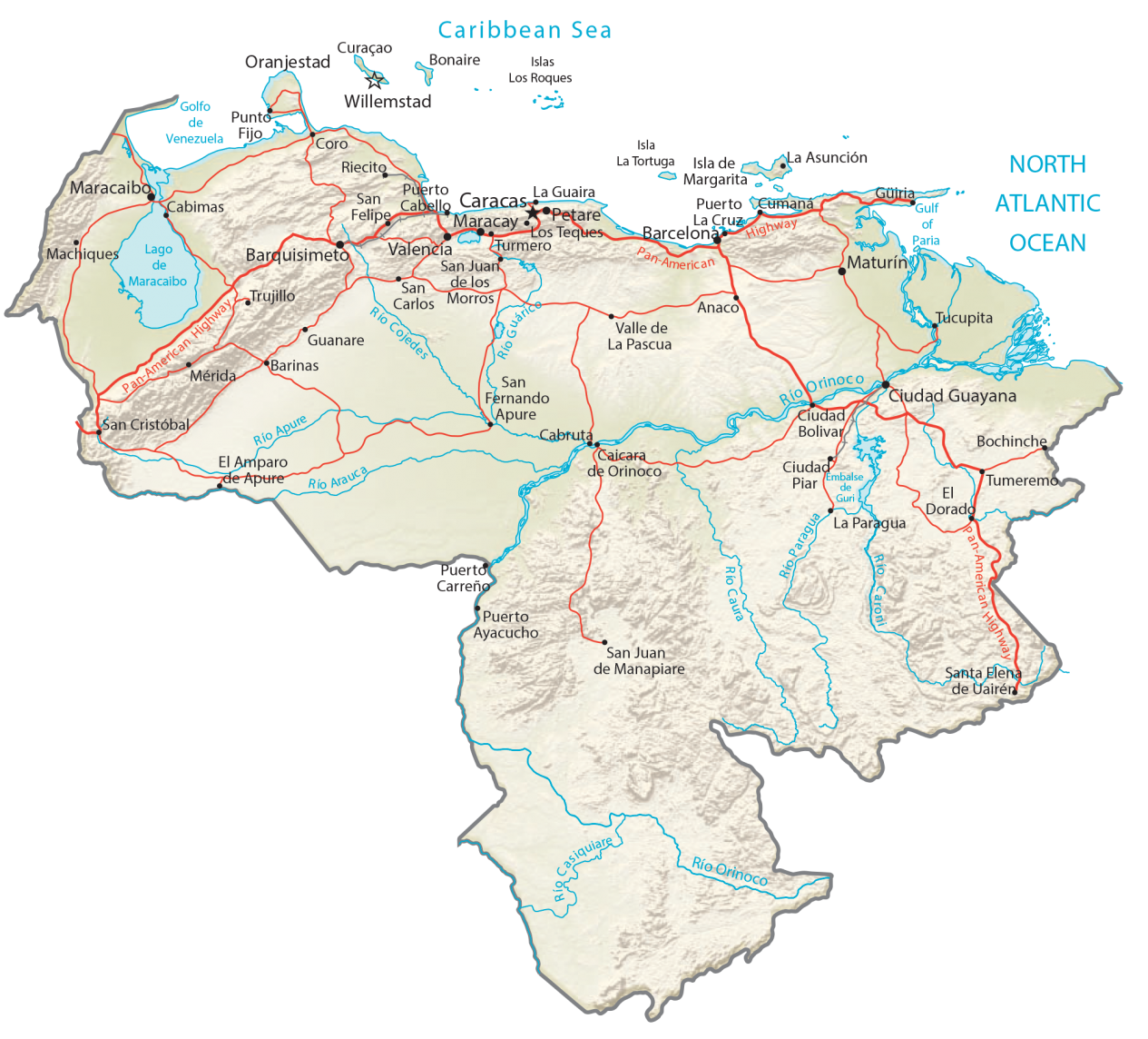 Venezuela Physical Map