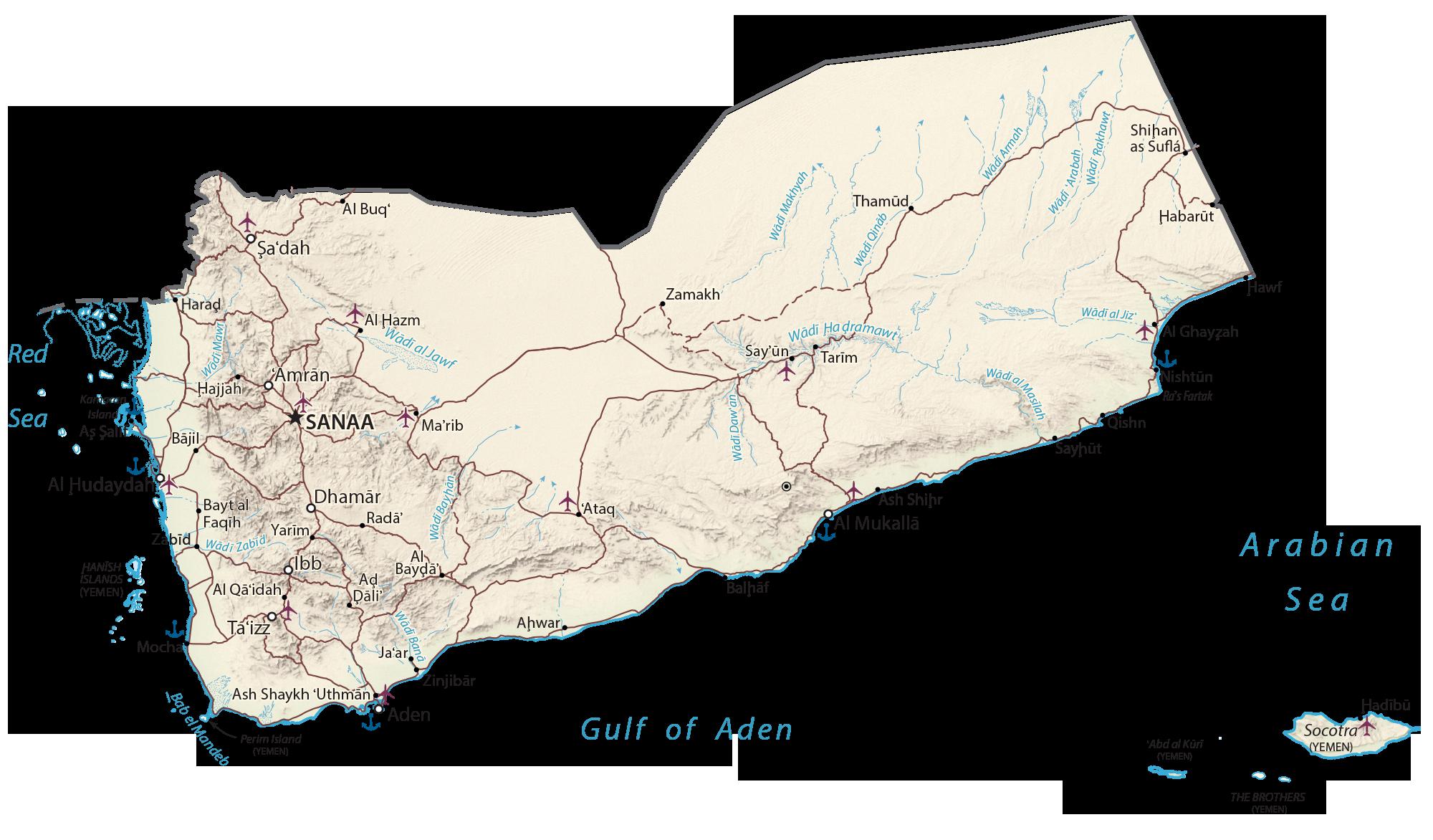 Yemen Physical Map