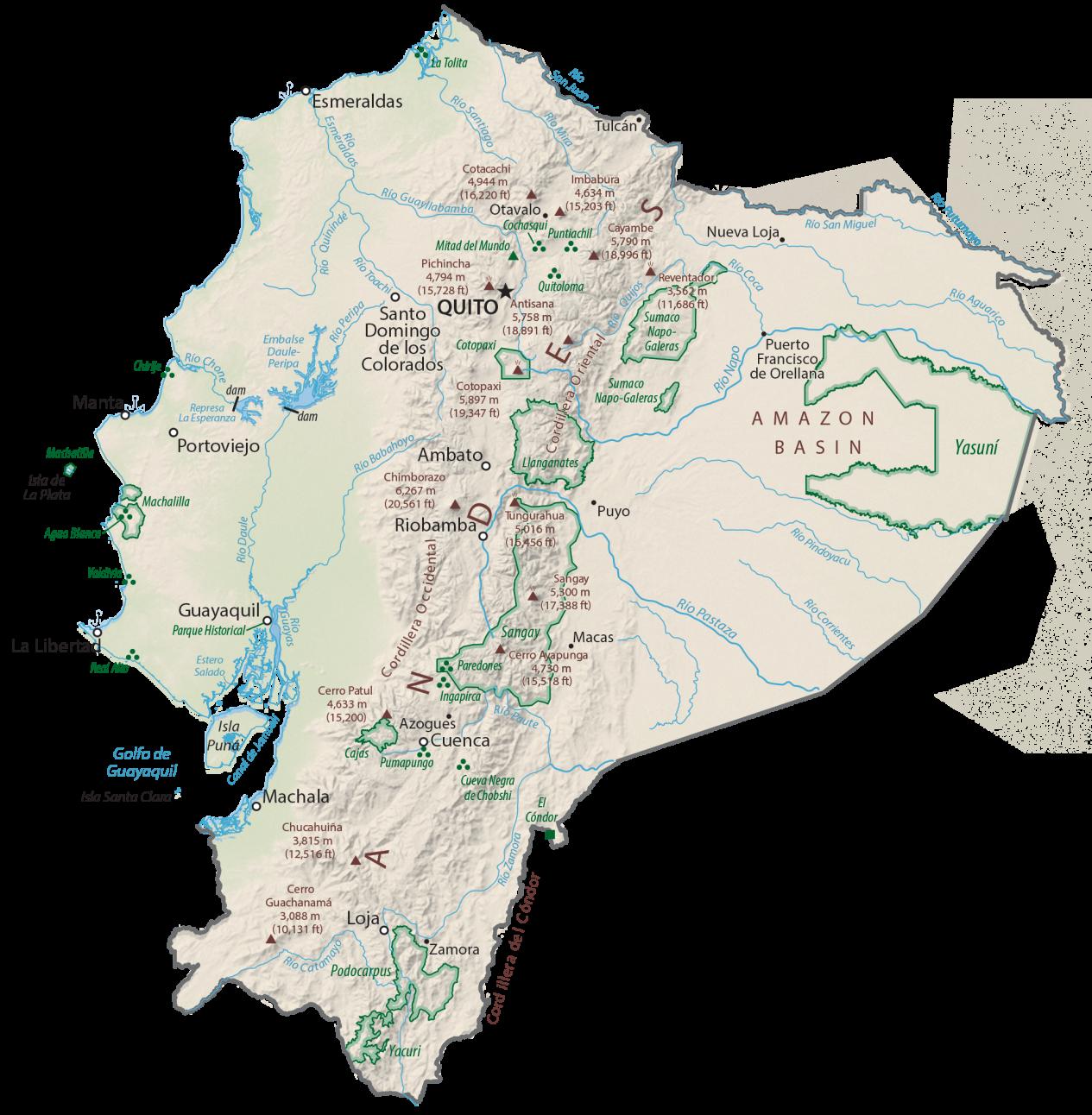 Ecuador Physical Map