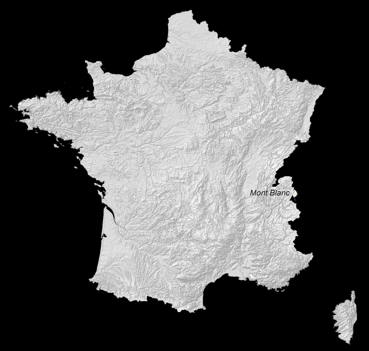 France Elevation Map