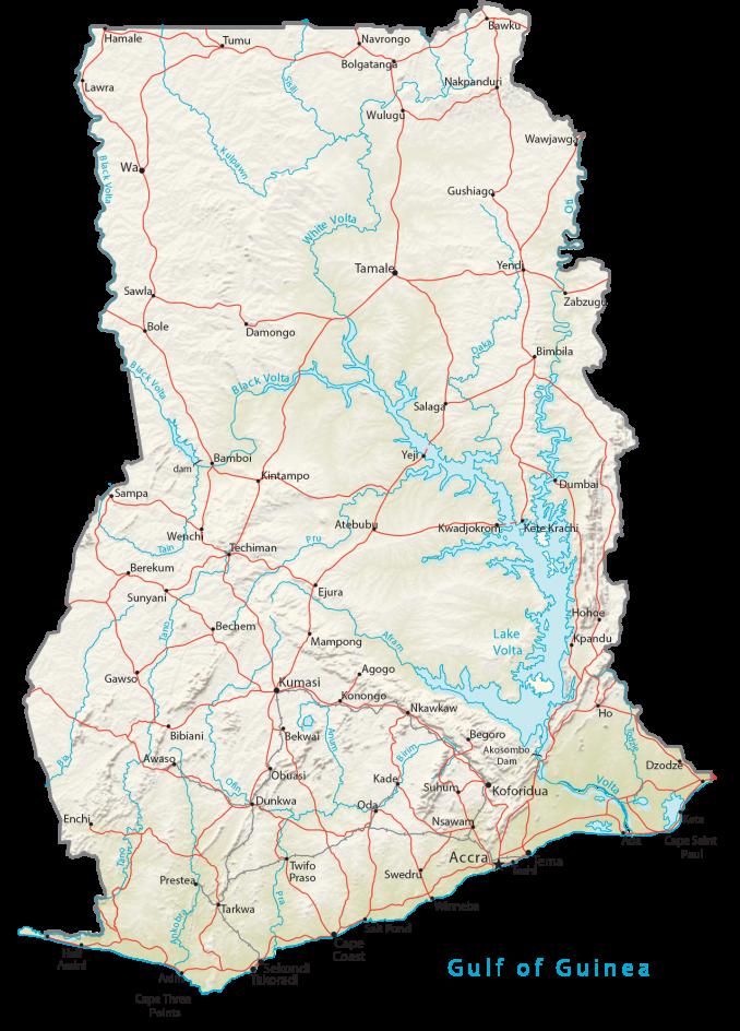 Ghana Physical Map