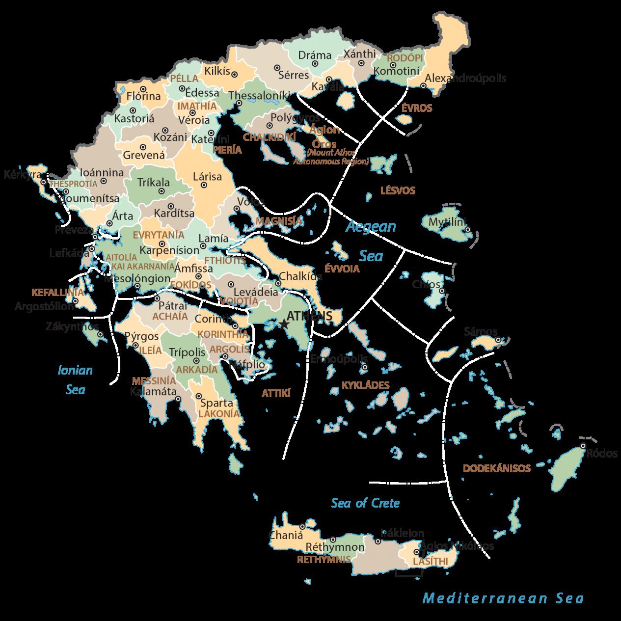 Greece Regions Map