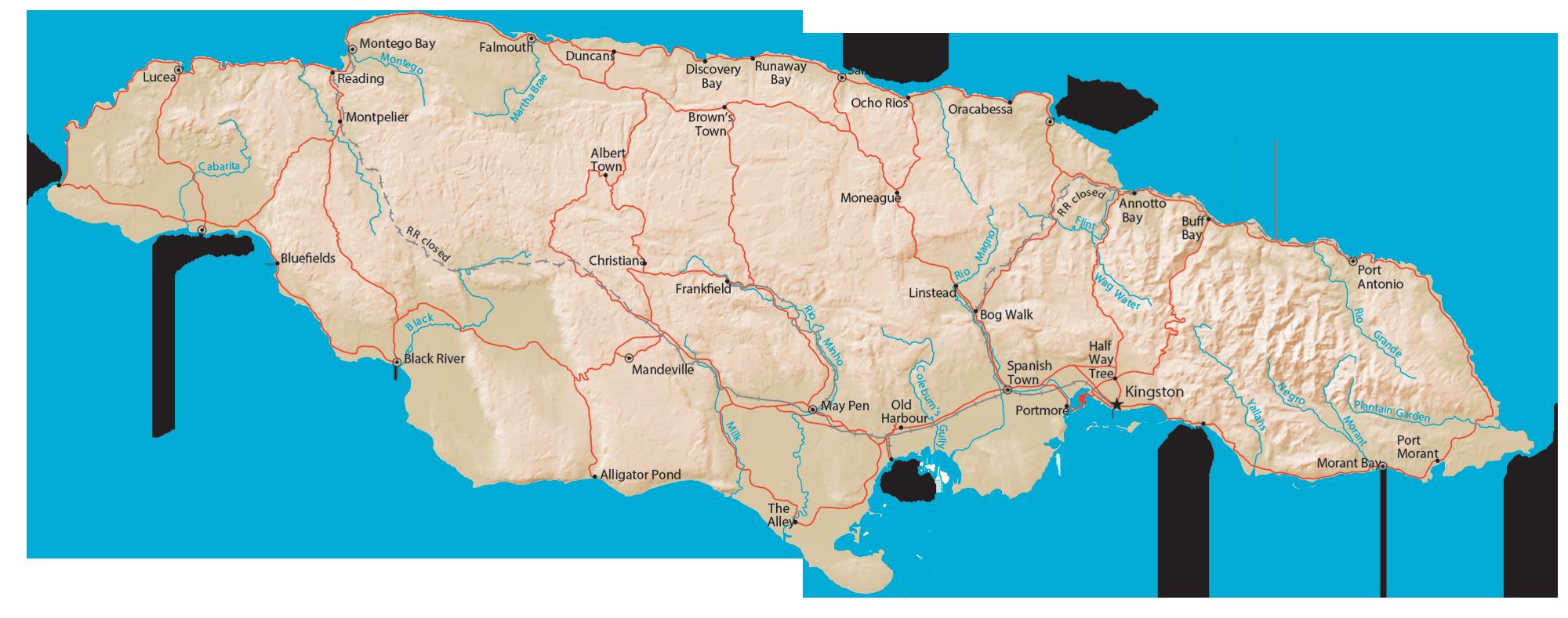Jamaica Physical Map