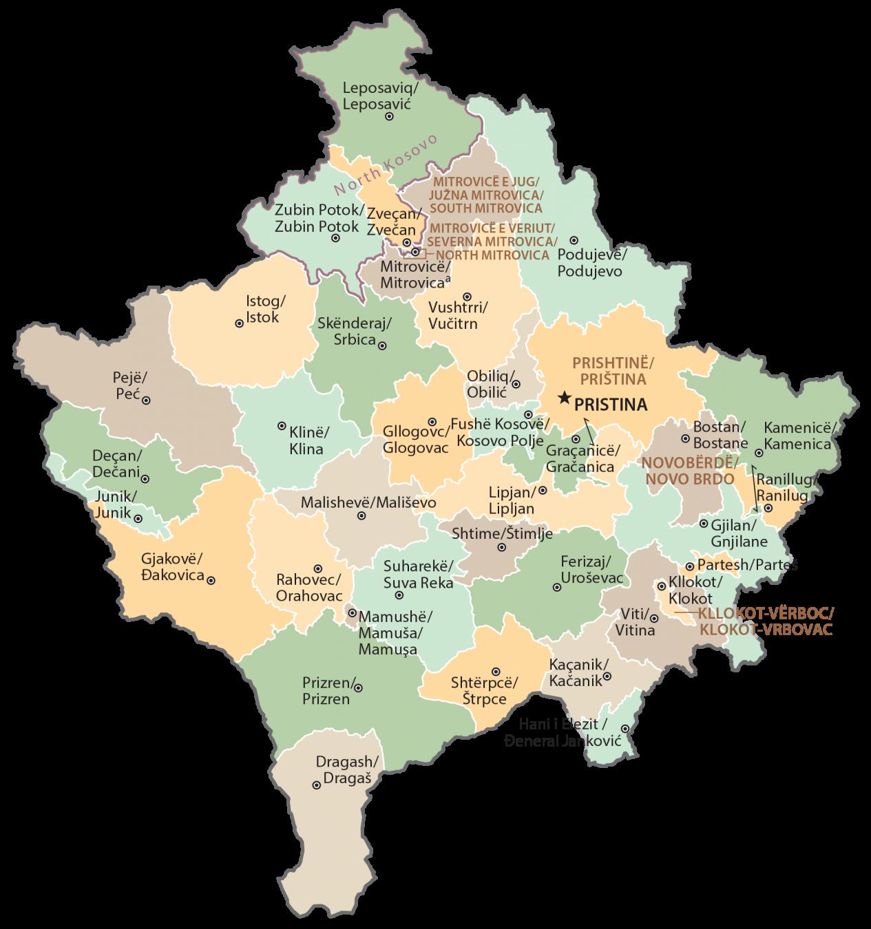 Kosovo Municipality Map