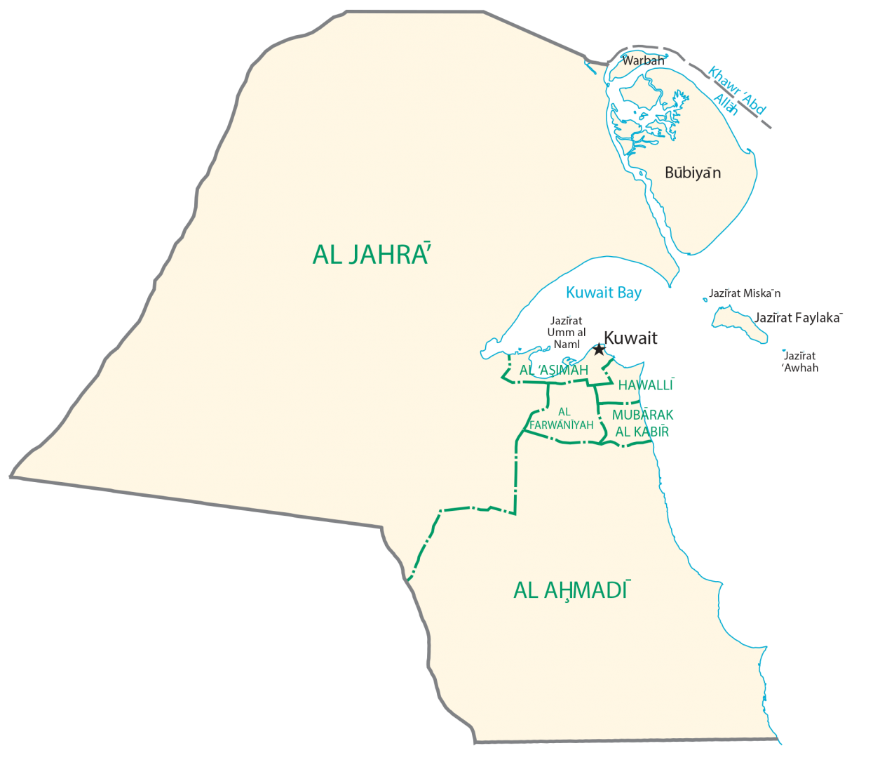 Kuwait Administrative Divisions Map