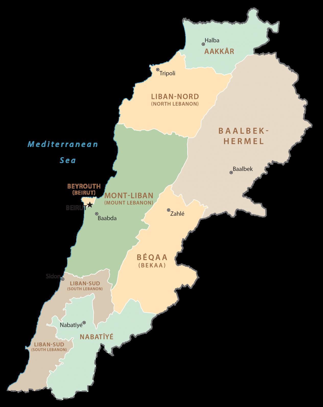 Lebanon Governorates Map