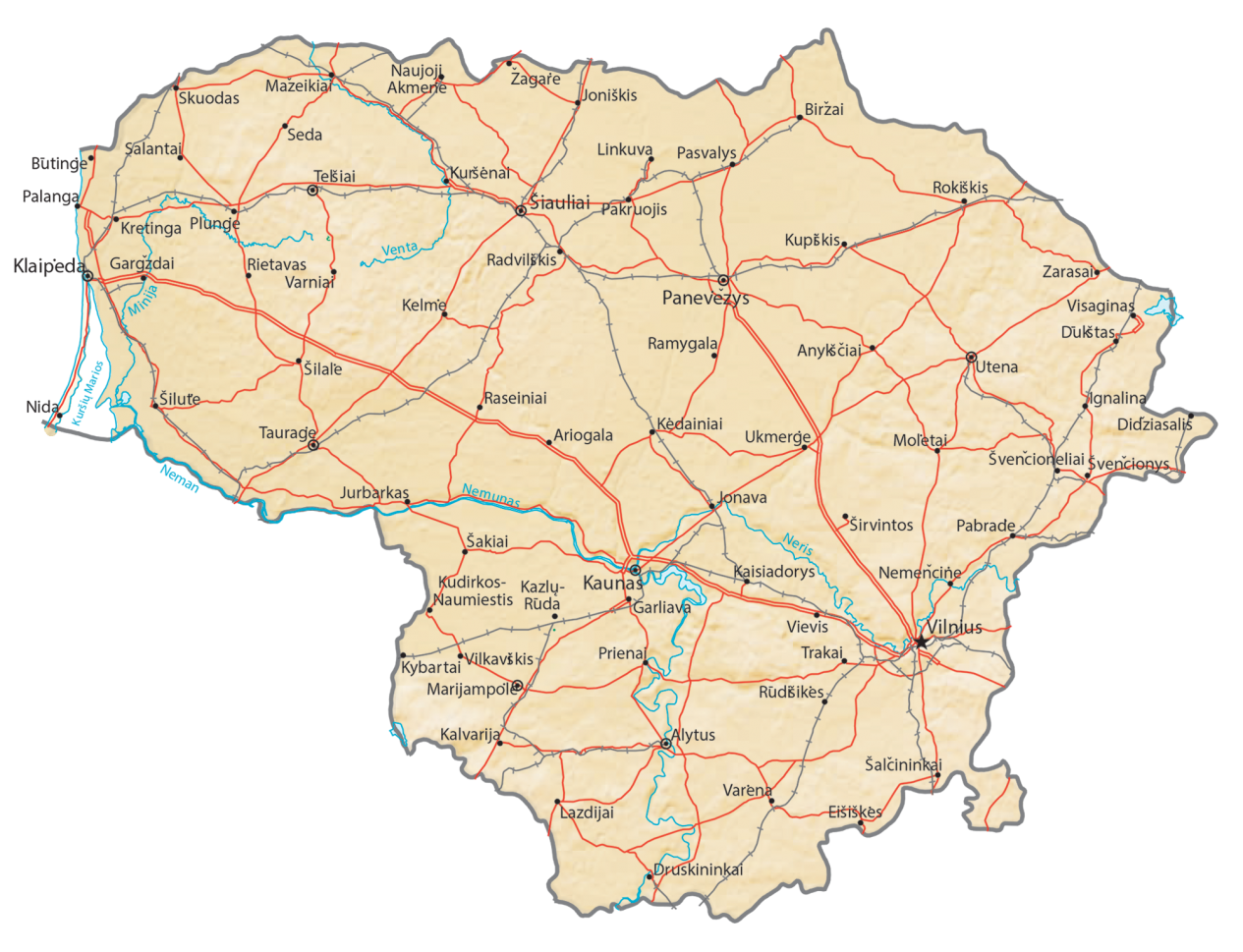 Lithuania Physical Map