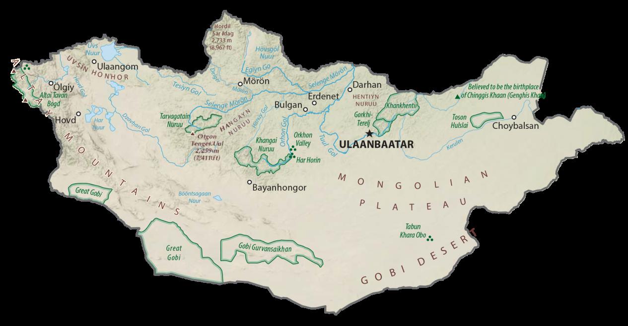 Mongolia Physical Map